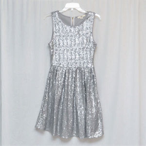 Silver Sequin Sleevless Dress Size M